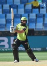 Anton Devcich slashes the ball towards the off side, Islamabad United v Lahore Qalandars, PSL 2018, Dubai, March  8, 2018