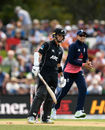 Mark Chapman was bowled for a duck by Moeen Ali, New Zealand v England, 5th ODI, Christchurch, March 10, 2018