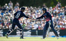 Alex Hales congratulates Jonny Bairstow on his half-century, New Zealand v England, 5th ODI, Christchurch, March 10, 2018