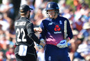 Jonny Bairstow got a handshake from Kane Williamson after being dismissed, New Zealand v England, 5th ODI, Christchurch, March 10, 2018