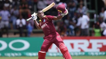 Rovman Powell celebrates his first ODI hundred