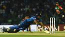 Danushka Gunathilaka puts in a dive to make his ground while Taskin Ahmed looks on, Bangladesh v Sri Lanka, Nidahas T20I Tri-series, Colombo, March 10, 2018
