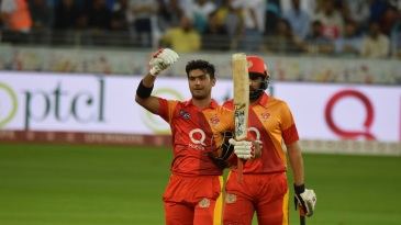 Hussain Talat celebrates victory with Misbah-ul-Haq