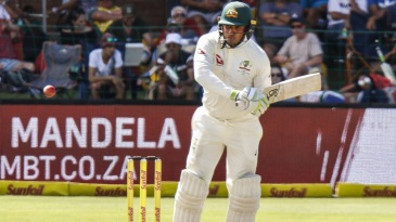 Usman Khawaja targets the leg side