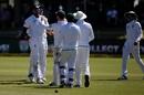 Lungi Ngidi celebrates Nathan Lyon' s wicket, South Africa v Australia, 2nd Test, Port Elizabeth, 4th day, March 12, 2018