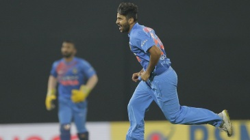 Shardul Thakur wheels away after taking a wicket