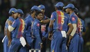 Akila Dananjaya is mobbed by his team-mates, Sri Lanka v India, 4th match, Nidahas Trophy, Colombo, March 12, 2018