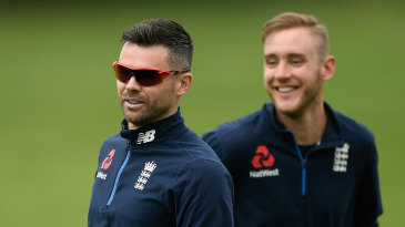 James Anderson and Stuart Broad during training at Hamilton