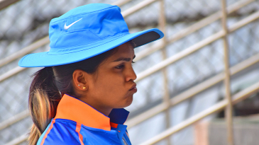 Veda Krishnamurthy on the sidelines of a practice match in Mumbai