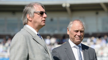 Giles Clarke and Colin Graves at Lord's during the first Test against New Zealand in 2015