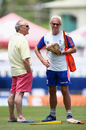 Colin Graves and Peter Moores in Barbados during the third Test against West Indies in 2015