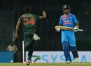 Rubel Hossain sent Shikhar Dhawan's middle stump cartwheeling,  Bangladesh v India, 5th match, Nidahas Twenty20 Tri-Series, Colombo, March 14, 2018