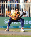 Hasan Ali celebrates a wicket in trademark style, Peshawar Zalmi v Karachi Kings, Pakistan Super League 2017-18, Sharjah