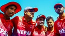 Paras Khadka leads the team huddle, Nepal v Papua New Guinea, World Cup Qualifier, Harare, March 15. 2018