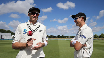 Tim Southee and Trent Boult before the start of play