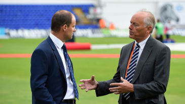 ECB chairman Colin Graves in conversation with Andrew Strauss, MD of English cricket, during the 2015 Ashes series