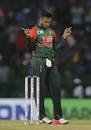 Shakib Al Hasan marked his return with the wicket of Danushka Gunathilaka, Sri Lanka v Bangladesh, 6th match, Colombo, March 16, 2018