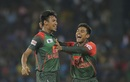 Mustafizur Rahman and Mehidy Hasan celebrate a wicket, Sri Lanka v Bangladesh, 6th match, Colombo, March 16, 2018