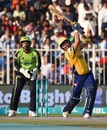 Kamran Akmal launches it down the ground, Lahore Qalandars v Peshawar Zalmi, PSL 2018, Sharjah, March 16, 2018