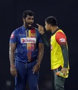 Nurul Hasan exchanges words with Thisara Perera, Sri Lanka v Bangladesh, 6th match, Colombo, March 16, 2018