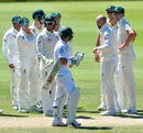 Nathan Lyon celebrates the wicket of Dean Elgar with his team-mates, South Africa v Australia, 2nd Test, Port Elizabeth, 4th day, March 12, 2018