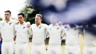 Tim Southee, Trent Boult and Neil Wagner stand for the national anthems with the rest of their team