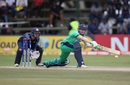 Niall O'Brien stretches out for a sweep, Ireland v Scotland, World Cup Qualifier, Super Sixes, Harare, March 18, 2018