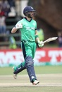 Andy Balbirnie celebrates his hundred, Ireland v Scotland, World Cup Qualifier, Super Sixes, Harare, March 18, 2018