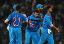 Yuzvendra Chahal is surrounded by team-mates after removing Soumya Sarkar, India v Bangladesh, Nidahas Trophy final, Colombo, March 18, 2018