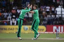 George Dockrell and Boyd Rankin get together to celebrate a wicket, Ireland v Scotland, World Cup Qualifier, Super Sixes, Harare, March 18, 2018