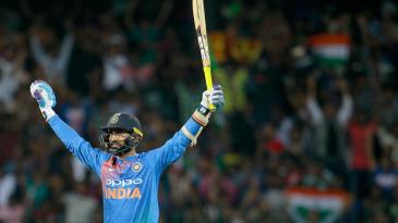 Dinesh Karthik savours the winning moment