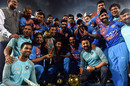The Indian team pose with the trophy, India v Bangladesh, Nidahas Trophy final, Colombo, March 18, 2018