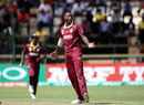 Jason Holder celebrates the wicket of Hamilton Masakadza, Zimbabwe v West Indies, World Cup Qualifiers, Harare, March 19, 2018