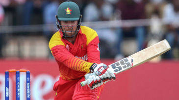 Brendan Taylor attempts to reverse paddle Devendra Bishoo