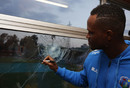 Marlon Samuels signs the window he broke, Zimbabwe v West Indies, World Cup Qualifiers, Harare, March 19, 2018
