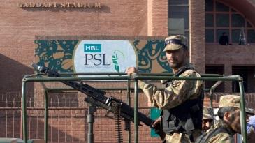 Pakistan soldiers keep vigil outside Gaddafi stadium
