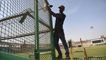 Security cameras being installed at the Gaddafi Stadium