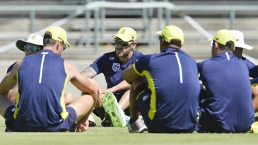 Faf du Plessis with his team-mates at a training session