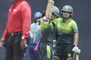 Javeria Khan celebrates her century, Sri Lanka v Pakistan, 1st women's ODI, Dambulla, March 20, 2018