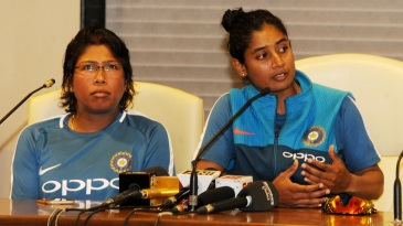 Jhulan Goswami and Mithali Raj address the press at the CCI