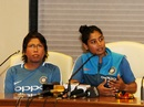 Jhulan Goswami and Mithali Raj address the press at the CCI, Mumbai, March 20, 2018