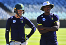 Faf du Plessis and Kagiso Rabada at a training session, South Africa v Australia, Cape Town, March 20, 2018