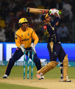 Sarfraz Ahmed goes for a big shot, Peshawar Zalmi v Quetta Gladiators, eliminator 1, PSL 2018, Lahore, March 20, 2018