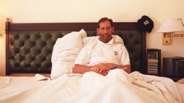 Graham Gooch in his hotel bed
