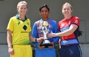 Team captains Meg Lanning, Harmanpreet Kaur and Heather Knight pose with the tri-series trophy, Mumbai, March 21, 2018