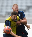 Ben Stokes and Mark Wood engage in some football, Auckland, March 21, 2018