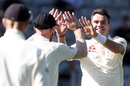 James Anderson celebrates Jeet Raval's wicket, New Zealand v England, 1st Test, Auckland, 1st day, March 22, 2018