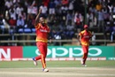 Tendai Chatara celebrates a wicket, Zimbabwe v UAE, World Cup qualifier, Super Sixes, Harare, March 22, 2018