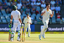 Faf du Plessis was a key wicket in an inspired spell from Pat Cummins, South Africa v Australia, 3rd Test, Cape Town, 1st day, March 22, 2018