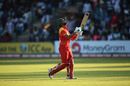 A dejected Sikandar Raza walks back after holing out, Zimbabwe v UAE, World Cup qualifier, Super Sixes, Harare, March 22, 2018